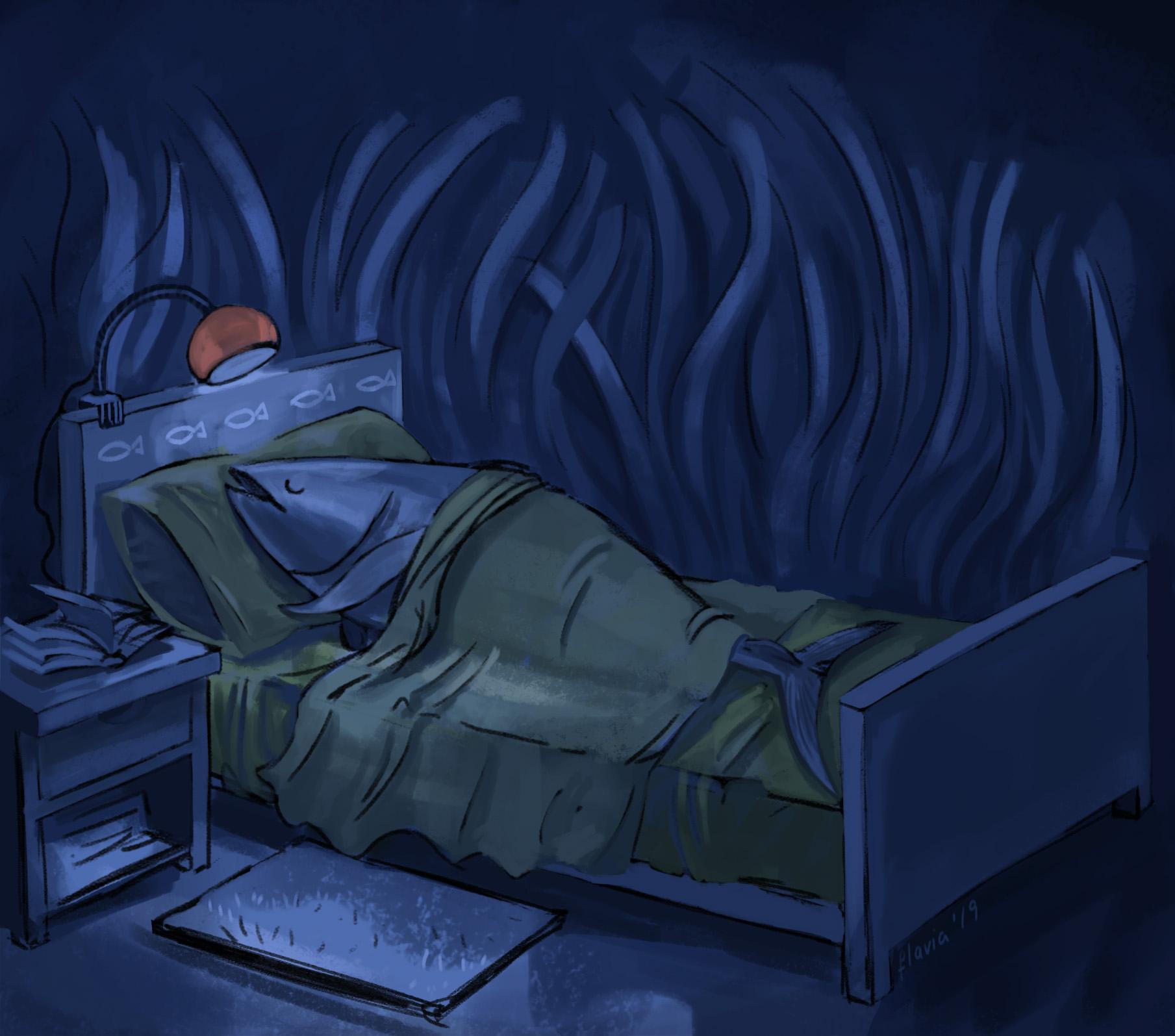 Illustration of a tuna sleeping
