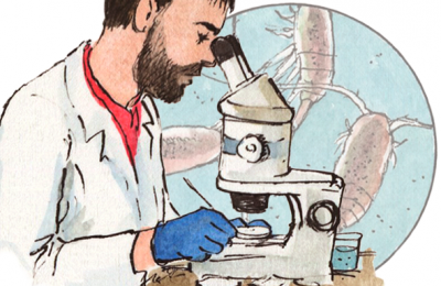 Dibujo de científico con microscopio